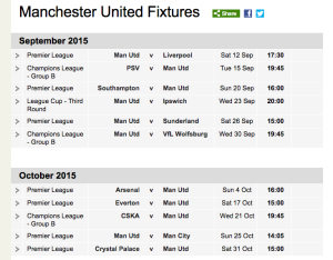 BBC Sport Football Manchester United Fixtures