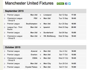 BBC Sport Football Manchester United Fixtures