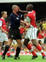 Roy Keane (left) of Man Utd and Arsenal's Patrick Vieira come to blows. ARSENAL Vs MANCHESTER UNITED (1-2) FA Carling Premiership, Highbury, London. On 18 November 2005, Manchester United captain Roy Keane sensationally left Manchester United by mutual consent. A statement released by the Old Trafford outfit confirmed that their long-serving captain has departed with immediate effect after it became clear that his future at the club was untenable.